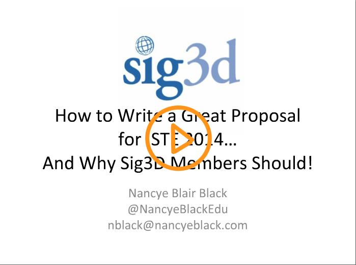 SIG3D ISTE14 Webinar